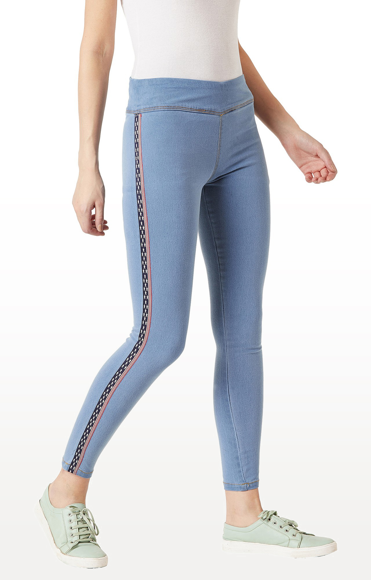 MISS CHASE | Light Blue Solid High Rise Clean Look Regular Length Twill Tape Detailing Stretchable Denim Jeggings