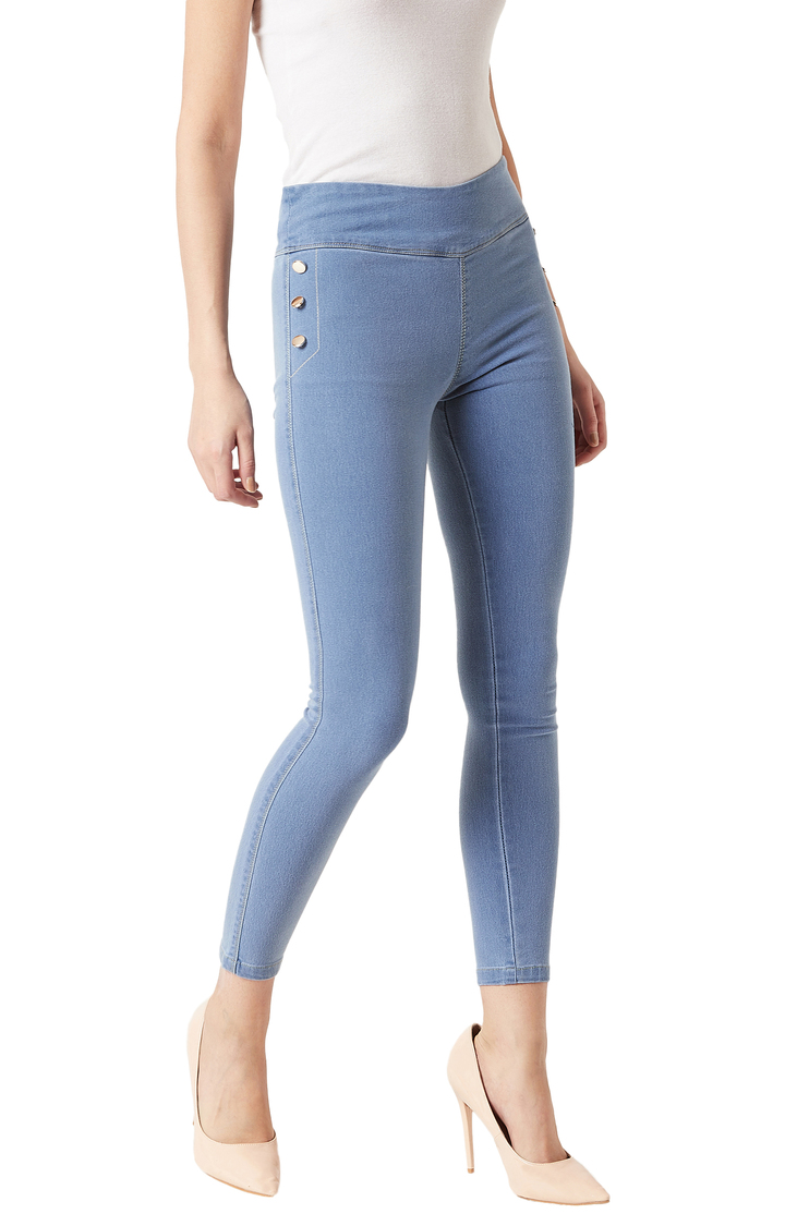MISS CHASE   Light Blue Solid High Rise Button Detailing Stretchable Jeggings