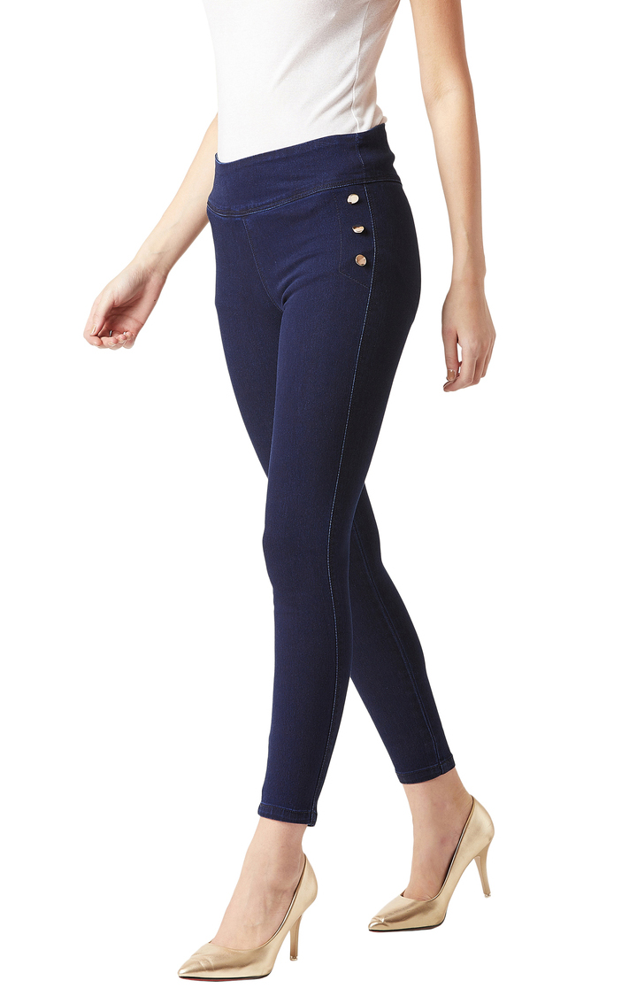 MISS CHASE   Navy Solid High Rise Button Detailing Stretchable Jeggings