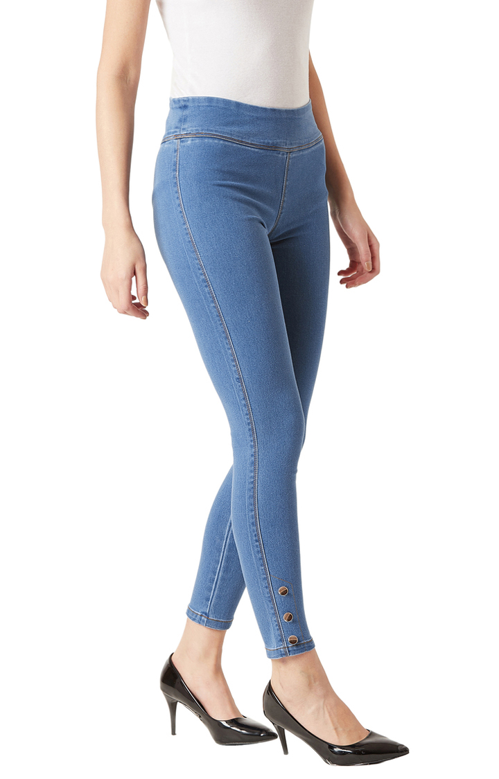 MISS CHASE | Blue Solid High Rise Button Detailing Stretchable Jeggings