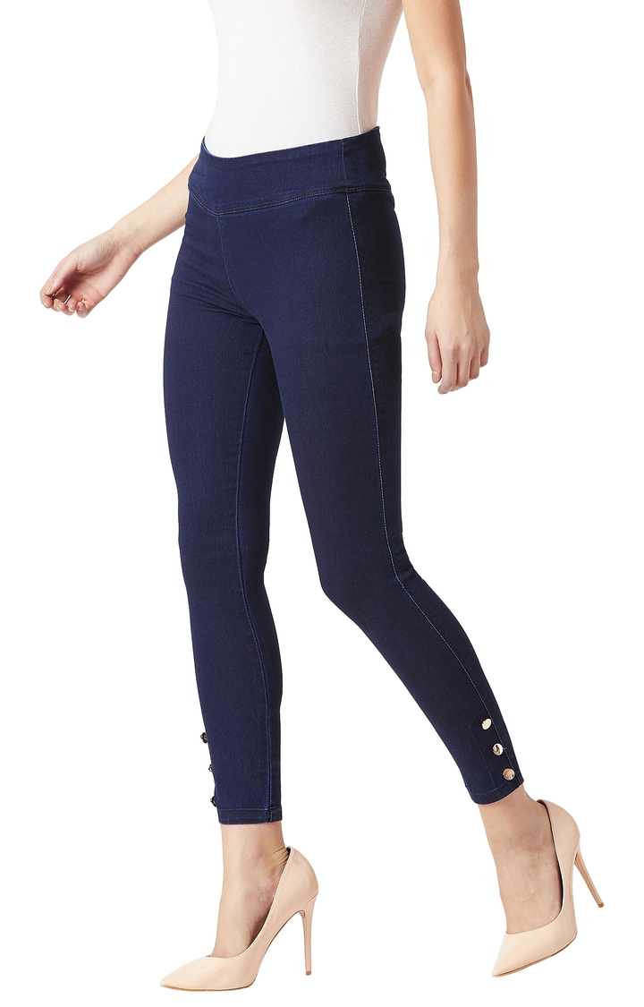 MISS CHASE | Navy Solid High Rise Gold Button Detailing Stretchable Jeggings