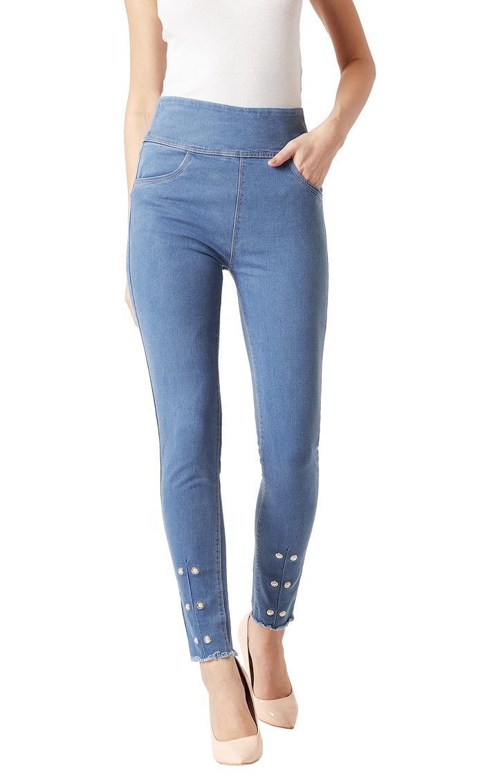 MISS CHASE | Light Blue Solid High Rise Eyelet and Pearl Detailing Stretchable Jeggings