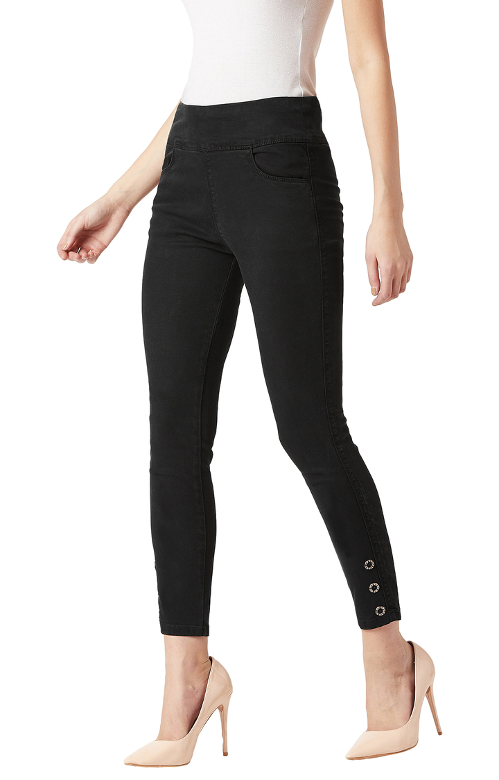 MISS CHASE   Black Solid Mid Rise Eyelet Detailing Stretchable Jeggings
