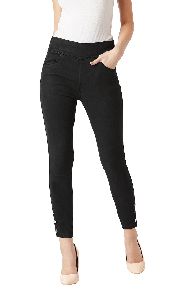 MISS CHASE | Black Solid Mid Rise Button Detailing Stretchable Jeggings