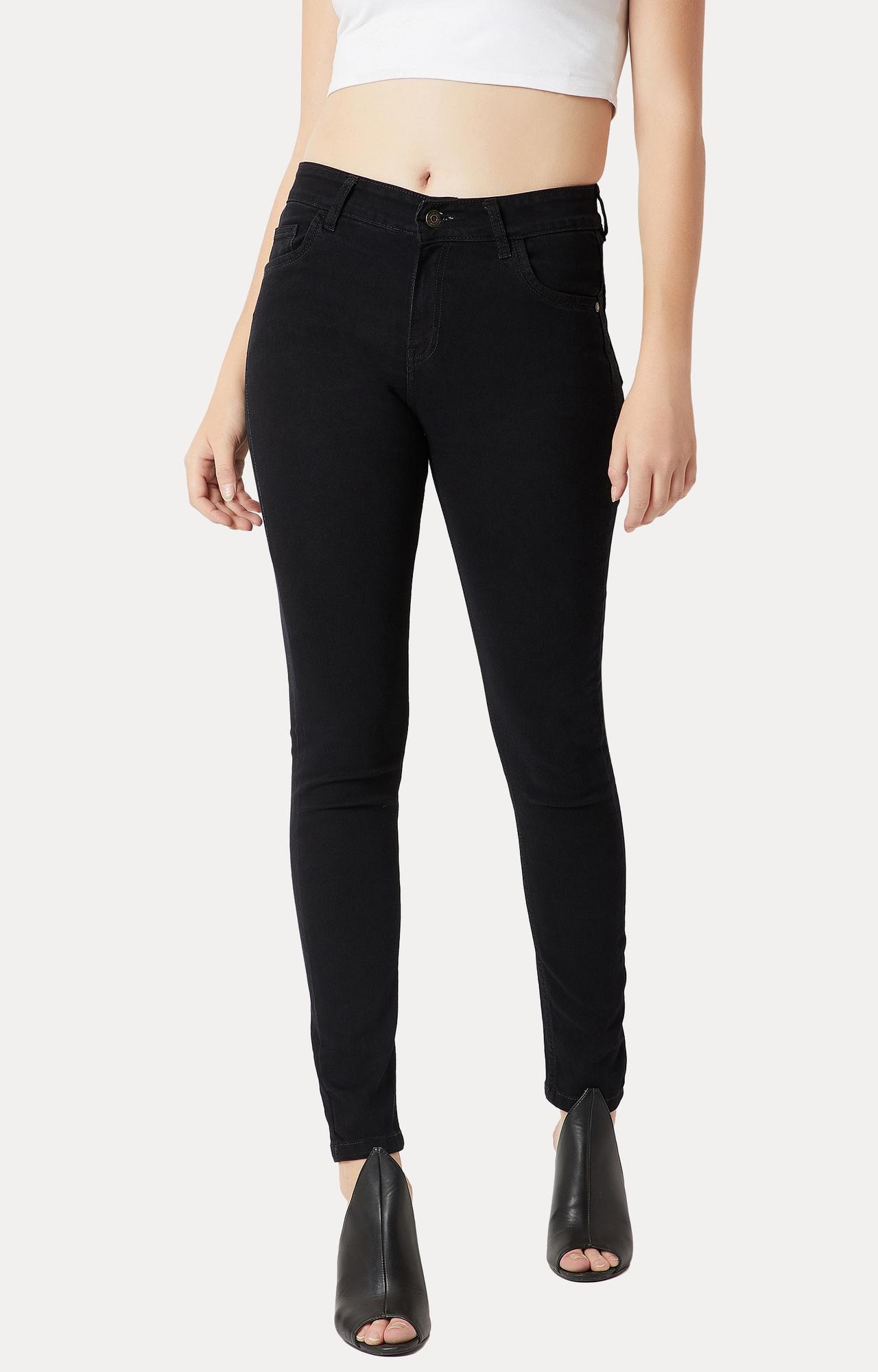 Black High Rise Acid Wash Stretchable Jeans