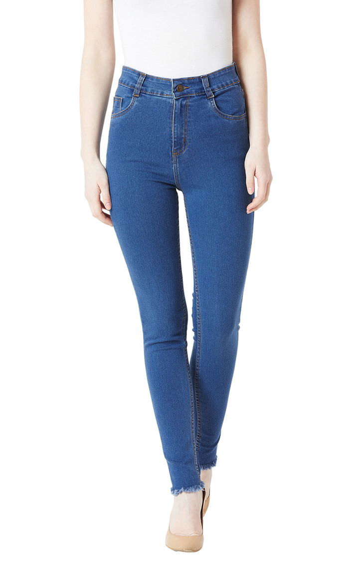 MISS CHASE   Blue Solid High Rise Fringe Detailing Stretchable Straight Jeans