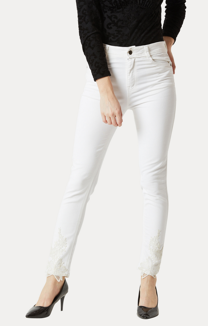 MISS CHASE | White Clean Look Lace Detailing Stretchable Jeans