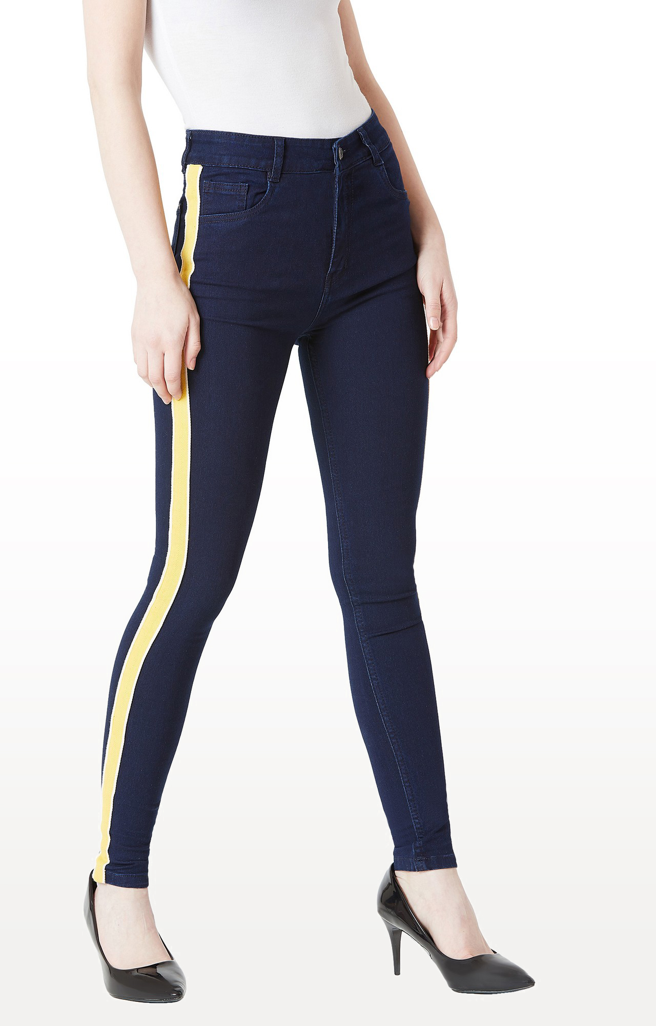 MISS CHASE   Navy Solid Mid Rise Twill Tape Detailing Stretchable Jeans