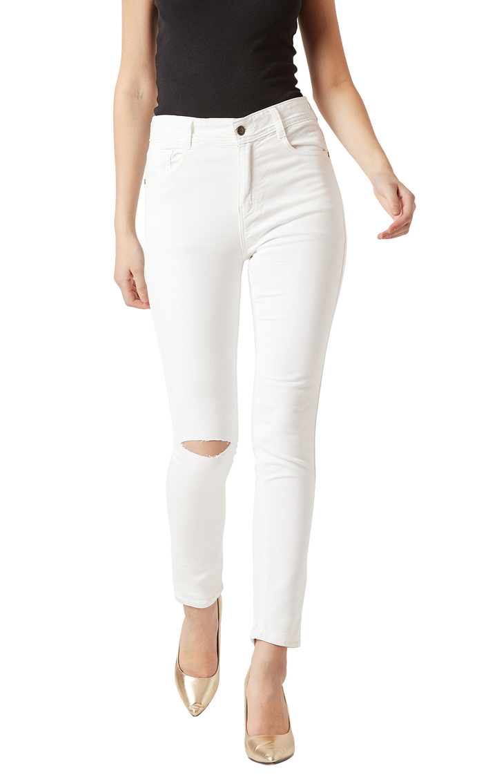 MISS CHASE | White Solid High Rise Knee Slit Stretchable Cropped Jeans