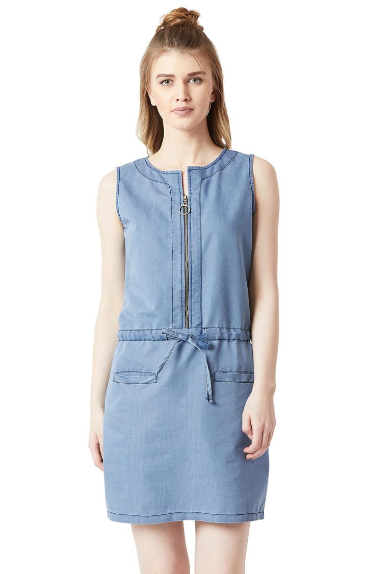 MISS CHASE | Light Blue Solid Denim Mini Shift Dress