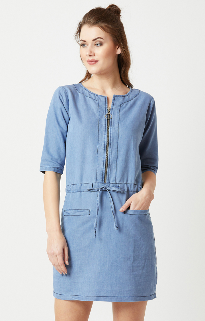 MISS CHASE   Blue Solid Shift Dress