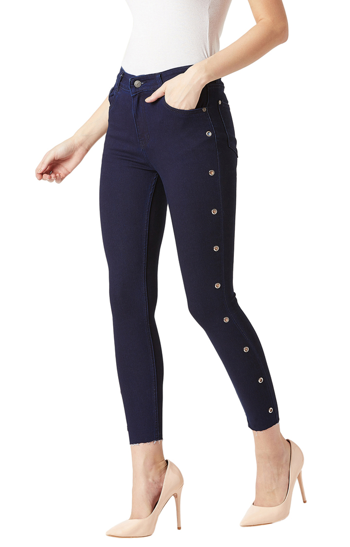MISS CHASE | Navy Solid Mid Rise Eyelet Detailing Stretchable Cropped Jeans