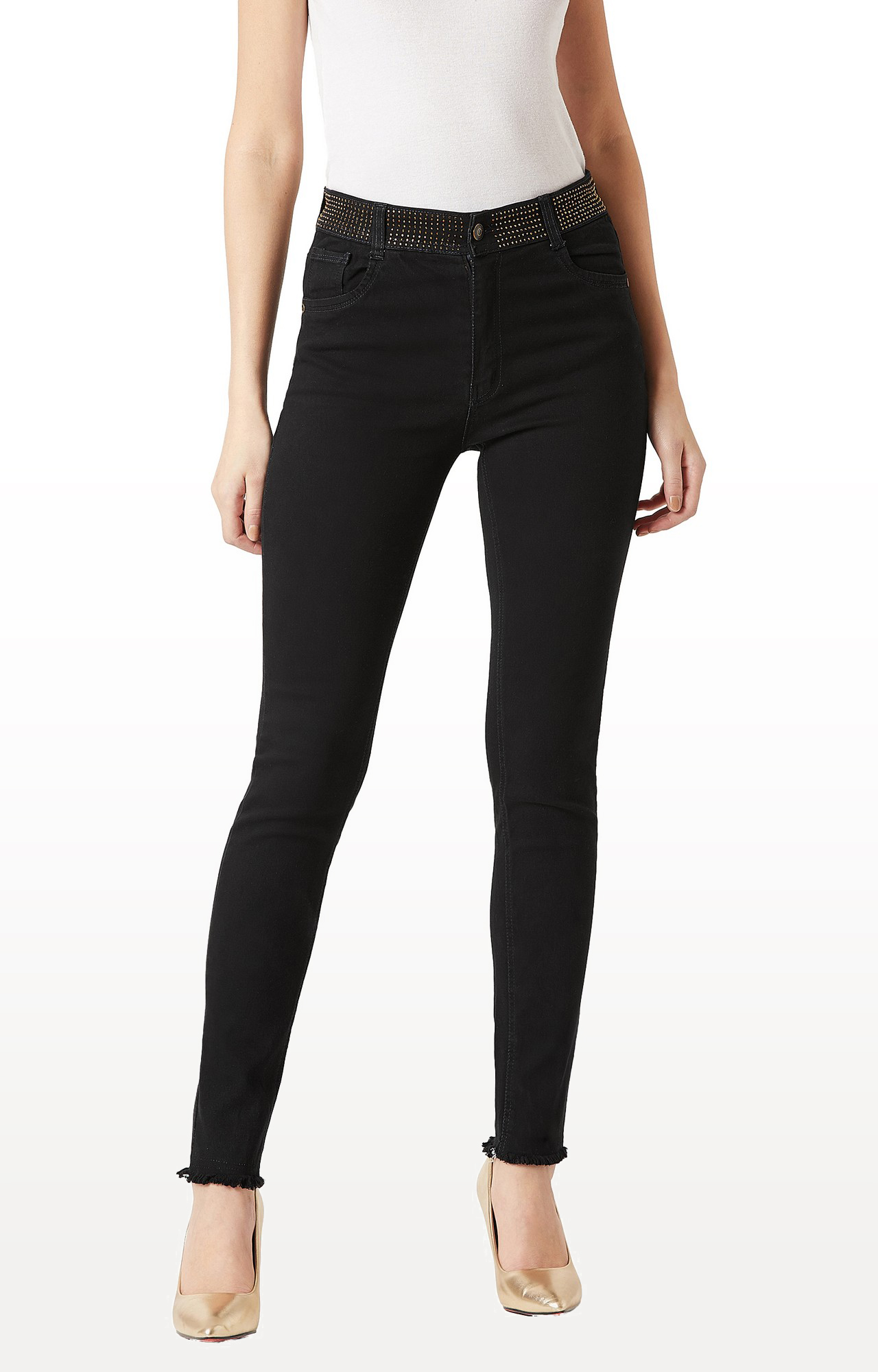 MISS CHASE | Black Solid Embellished Raw Edge Detailing Waistband High Rise Jeans