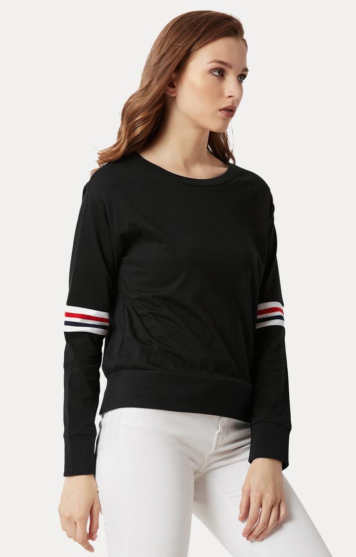 MISS CHASE | Black Solid Rib and Raw Edge Detailing Crop Sweatshirt