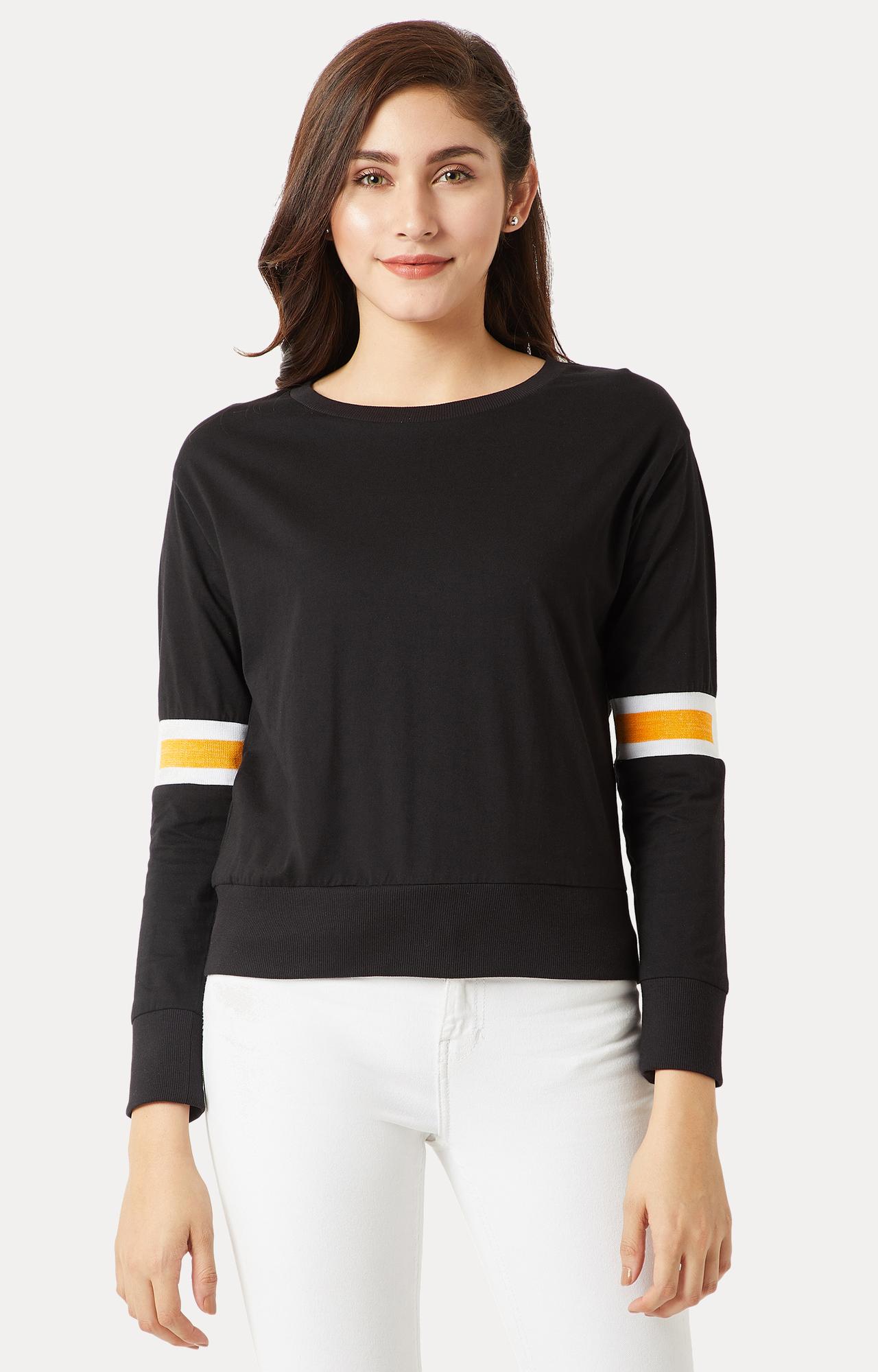 MISS CHASE | Black Solid Rib Detailing Panelled Boxy Sweatshirt