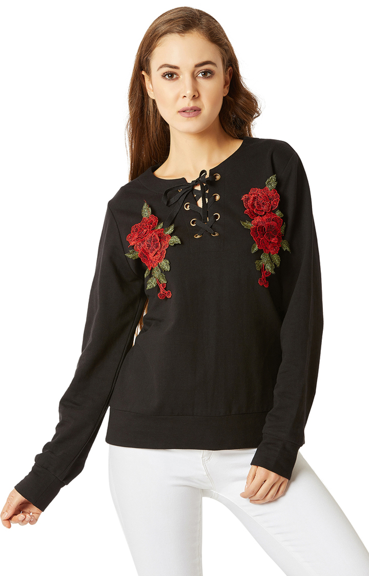 MISS CHASE | Black Embroidered Patch Work Twill Tape Detailing Sweatshirt