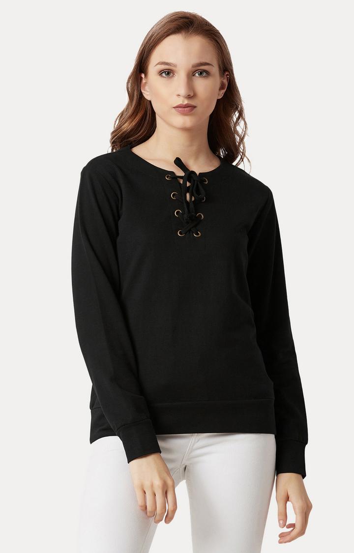 MISS CHASE | Black Solid Tie Up Sweatshirt