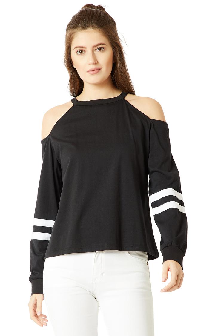 MISS CHASE | Black Solid Cold Shoulder Sweatshirt