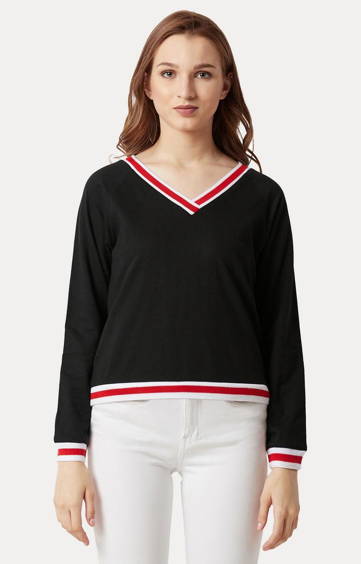 MISS CHASE | Black Solid Ribbed Boxy Sweatshirt