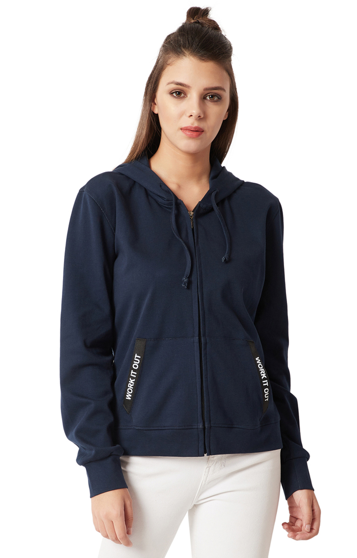 MISS CHASE | Navy Blue Solid Twill Tape Detailing Hoodie
