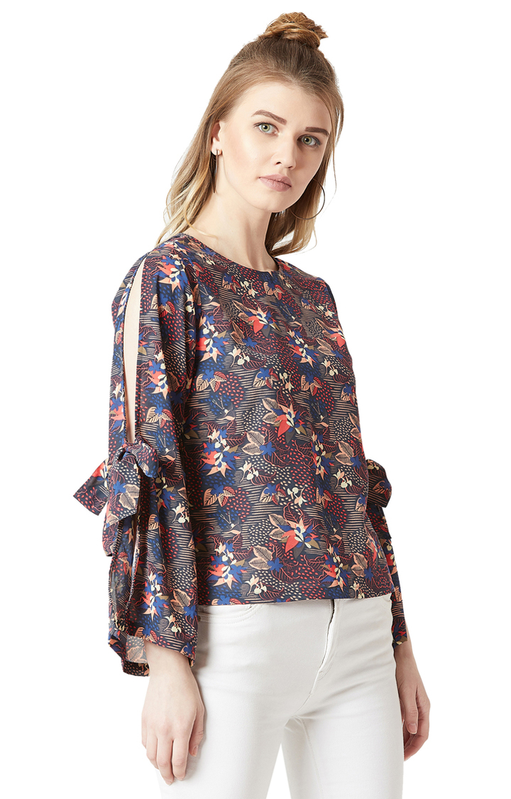 MISS CHASE | Multicoloured Floral Cut-Out and Tie-Up Detailing Top