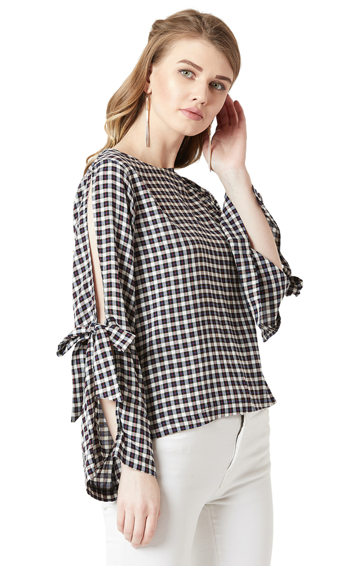 MISS CHASE | Black Checkered Cut-Out and Tie-Up Detailing Top