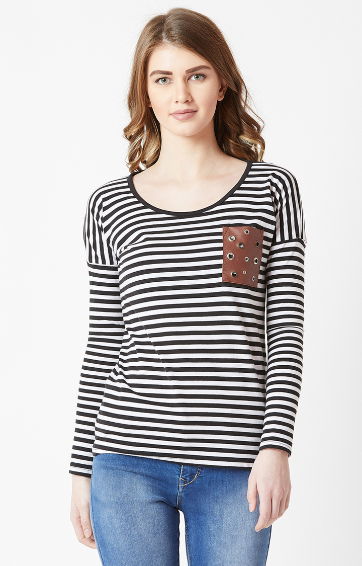 MISS CHASE   Black and White Striped Top