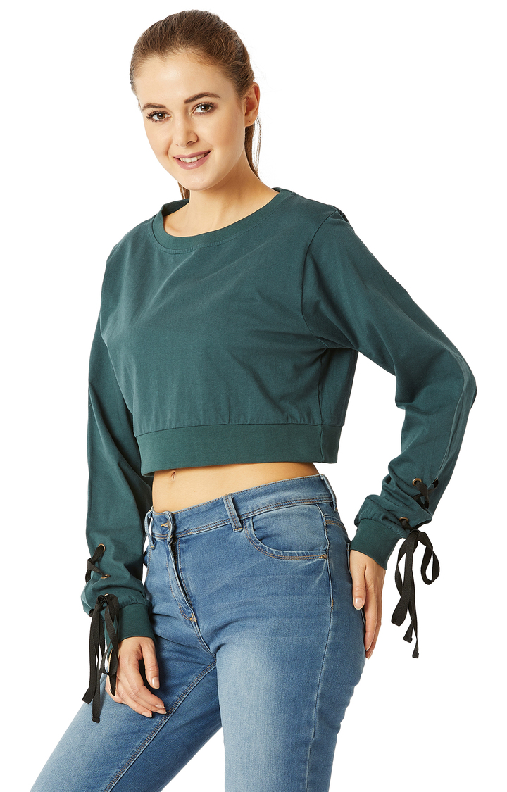 Green Solid Twill Tape Detailing Tie-Up Crop Top