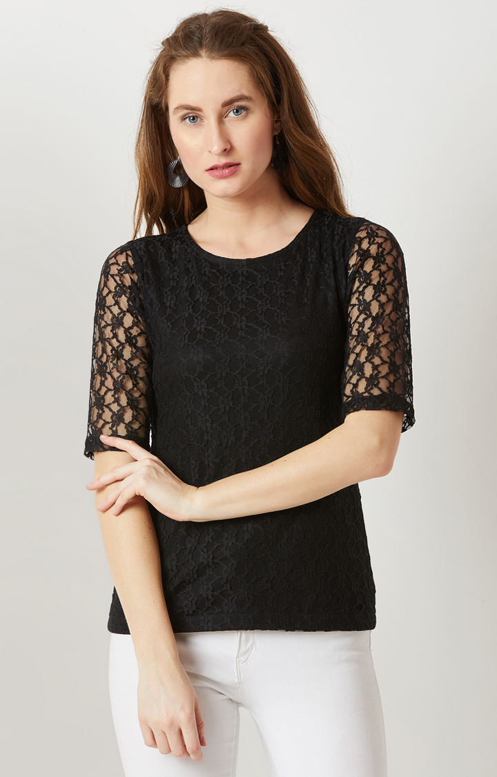 MISS CHASE   Black Embroidered Top