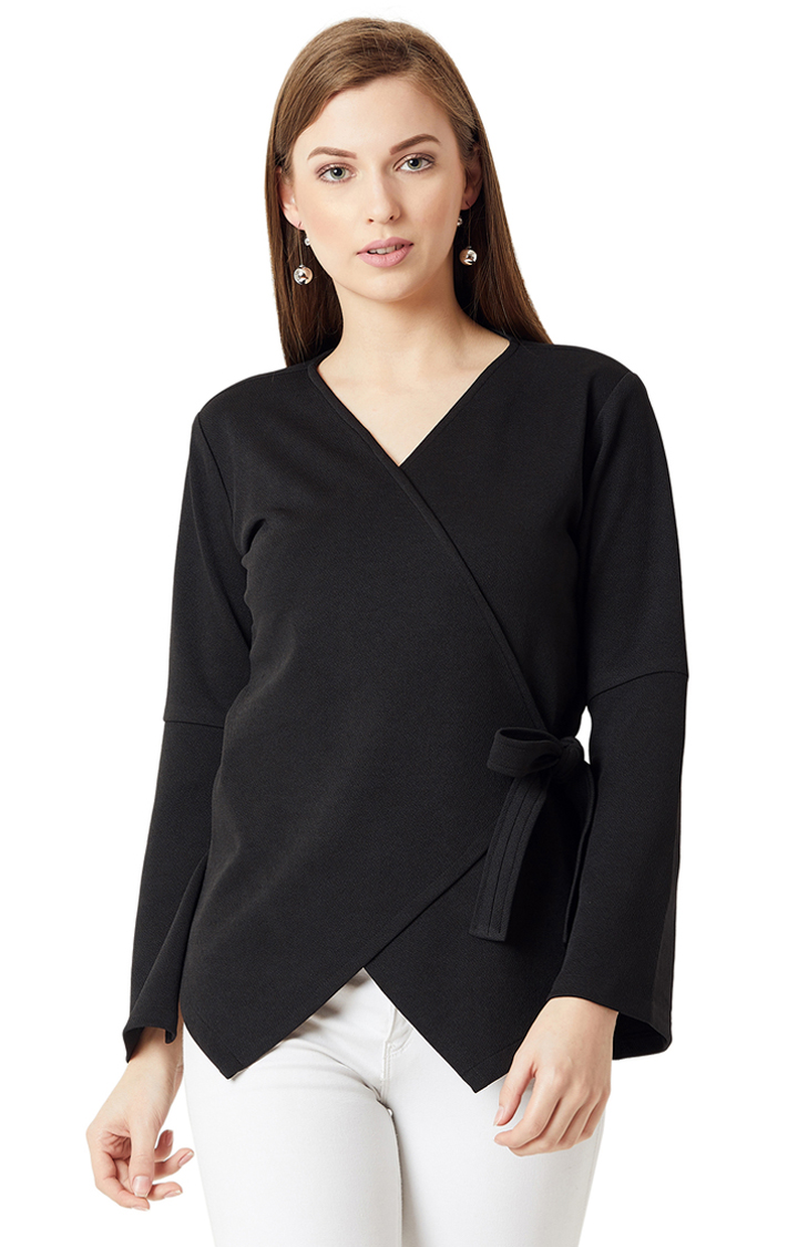 MISS CHASE | Black Solid Knitted Asymmetric Wrap Top