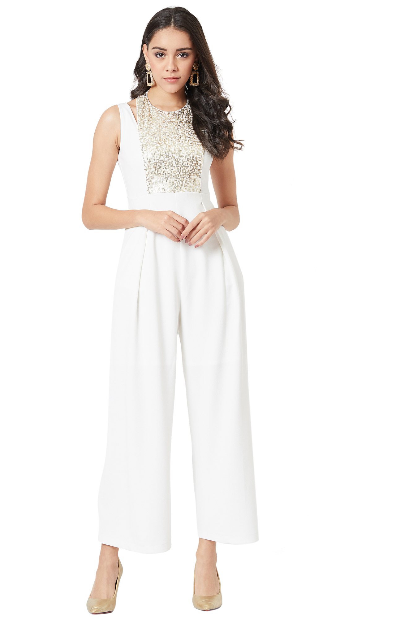MISS CHASE | Off White Solid Jumpsuit