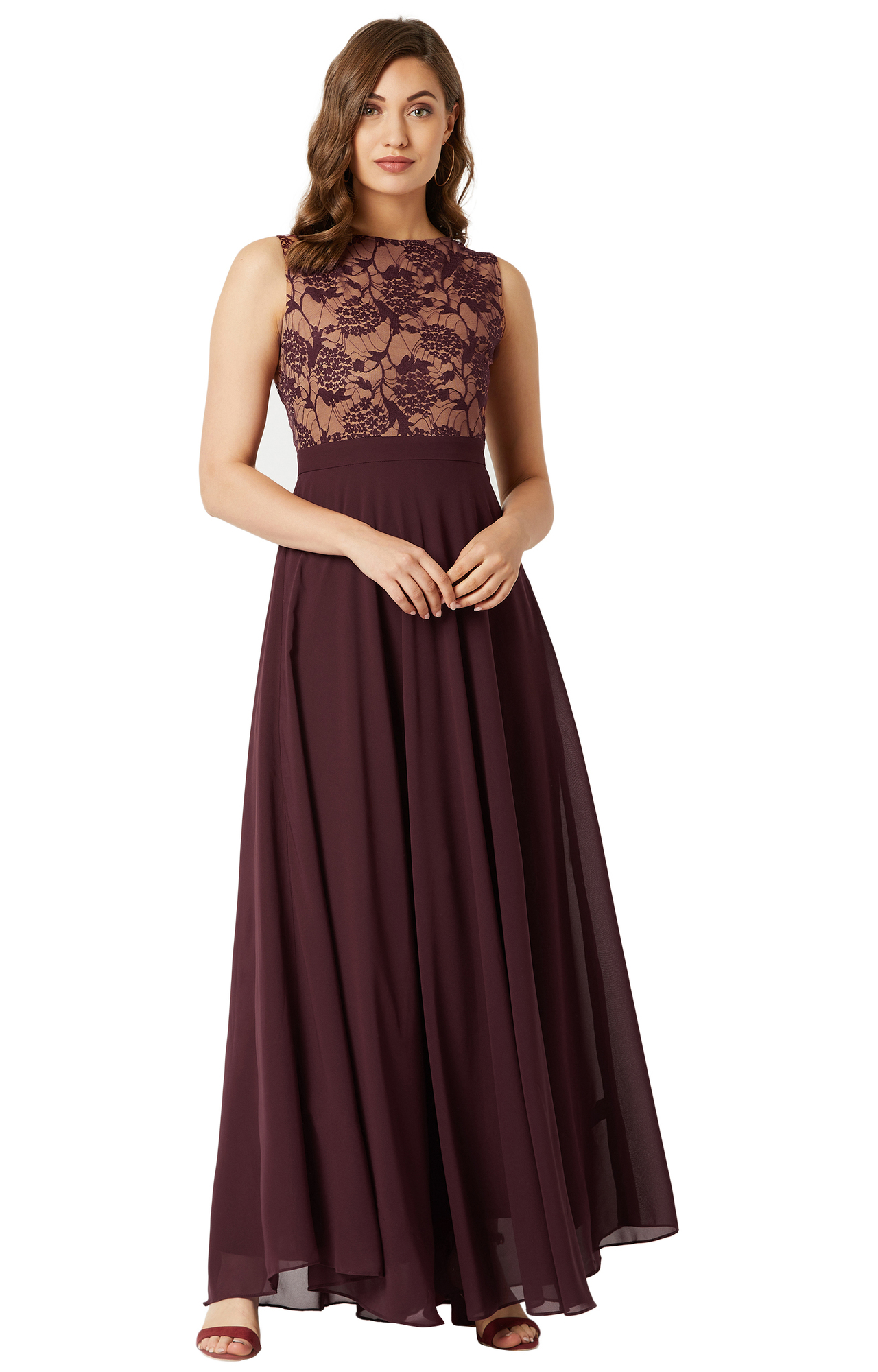 MISS CHASE | Wine Floral Maxi Dress