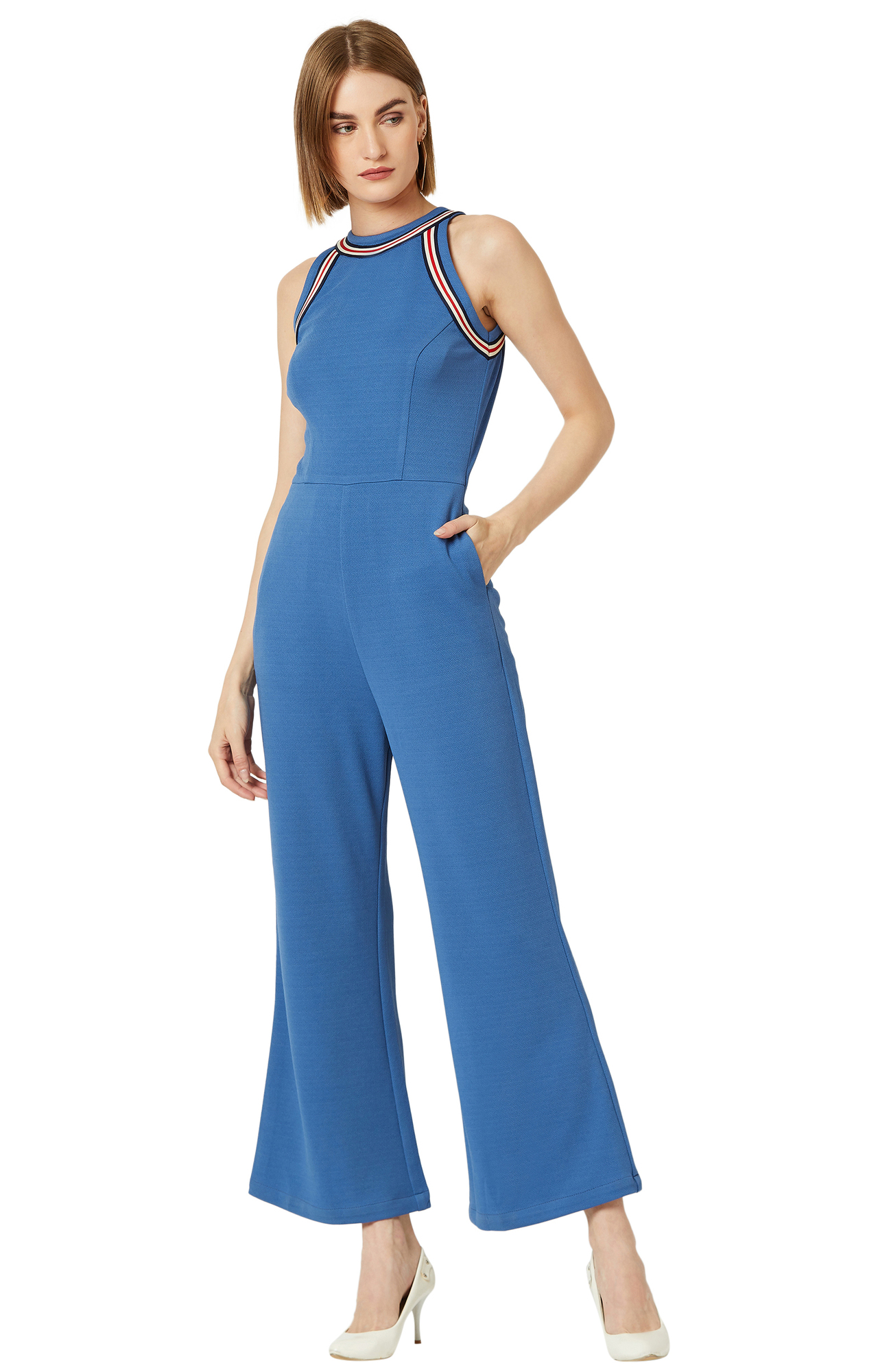 MISS CHASE   Azure Blue Solid Jumpsuit