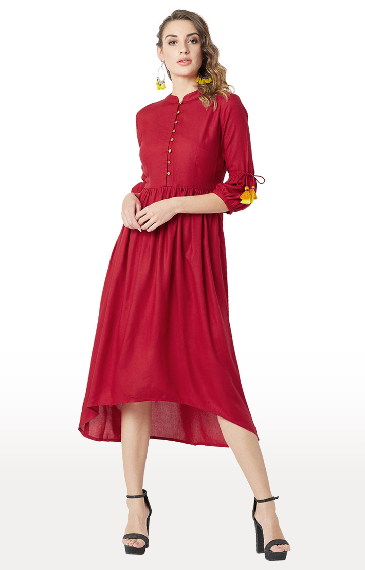 MISS CHASE   Maroon Solid Asymmetric Dress