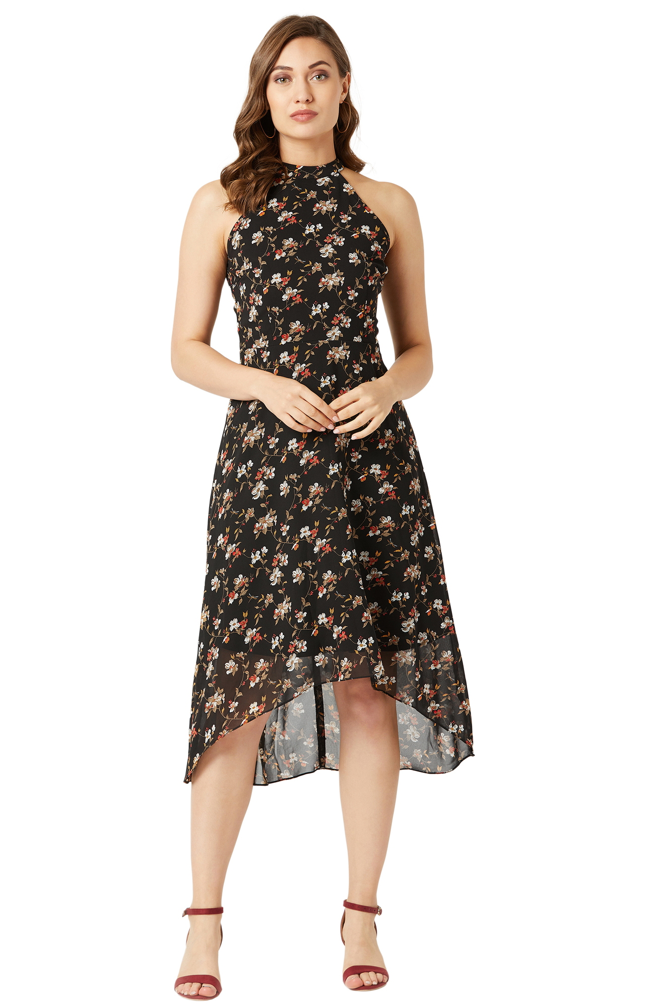 MISS CHASE | Multicoloured Floral Asymmetric Dress