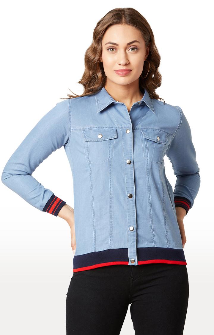 MISS CHASE | Light Blue Solid Denim Jacket
