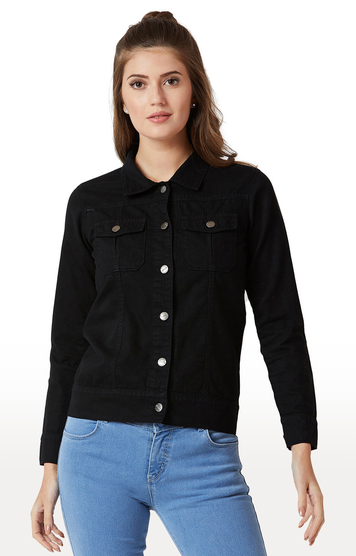 MISS CHASE   Black Solid Denim Jacket