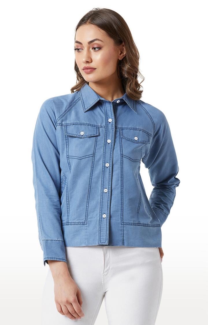 MISS CHASE | Light Blue Solid Flap Detailing Denim Jacket
