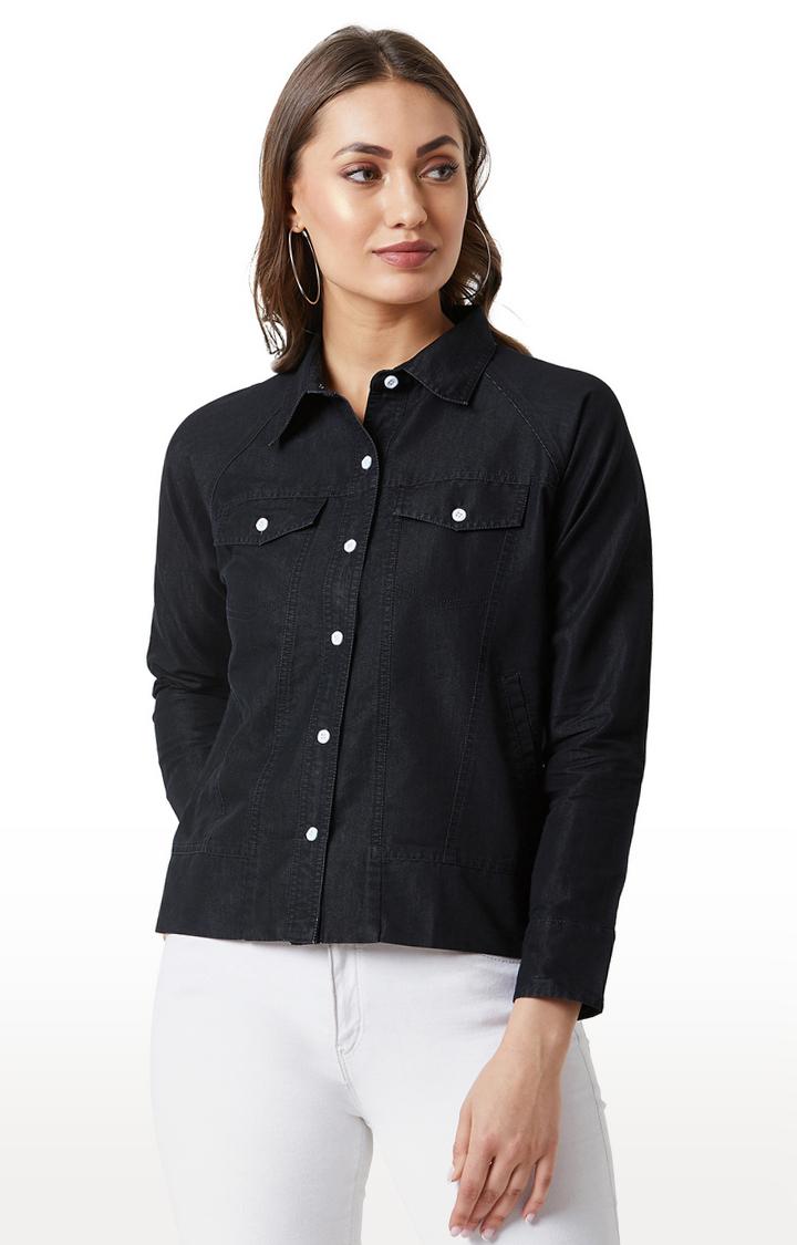 MISS CHASE | Black Solid Flap Detailing Denim Jacket