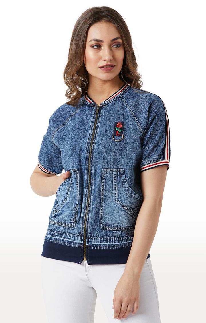 MISS CHASE | Navy Solid Denim Jacket