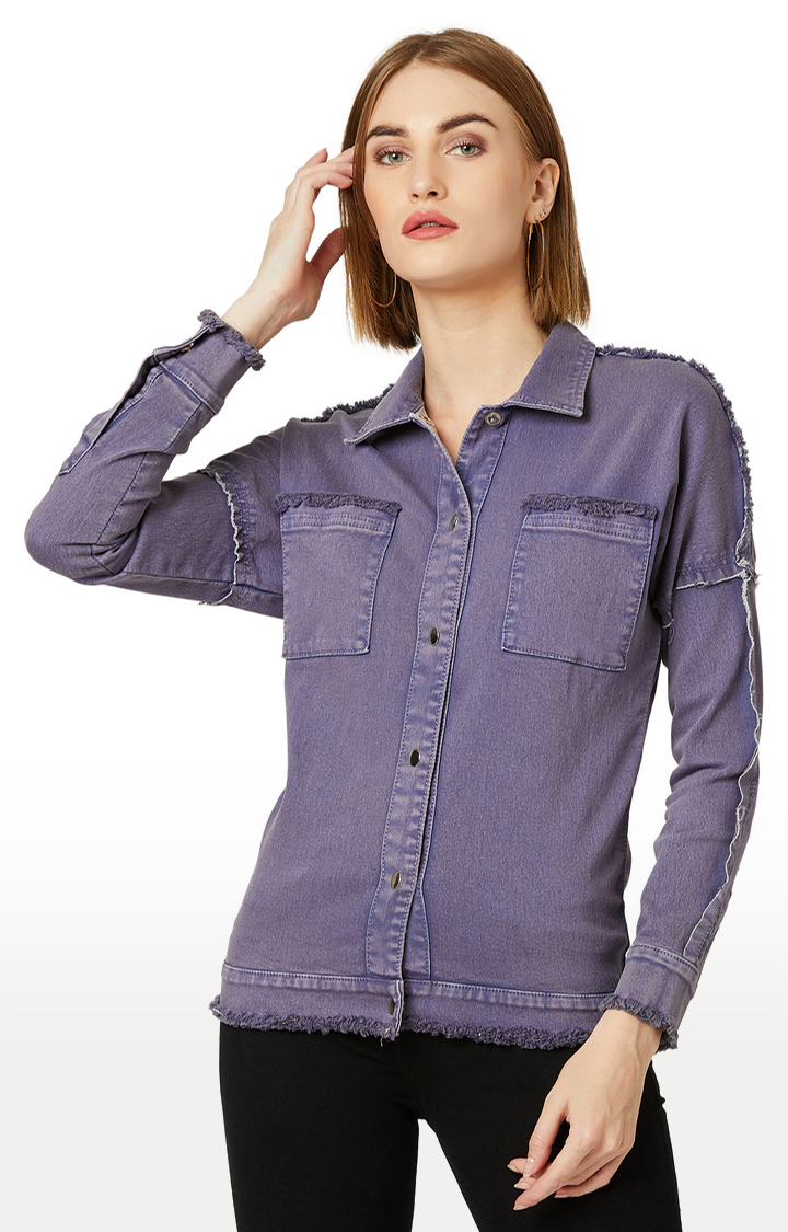 MISS CHASE   Lilac Solid Denim Jacket