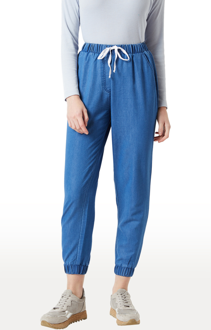 MISS CHASE   Blue Solid Casual Joggers