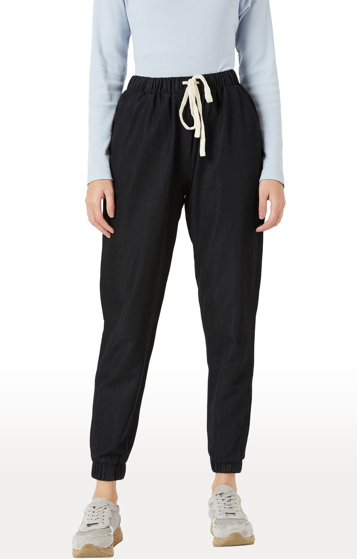 MISS CHASE   Black Solid Casual Joggers