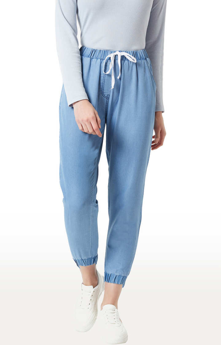 MISS CHASE   Light Blue Solid Casual Joggers