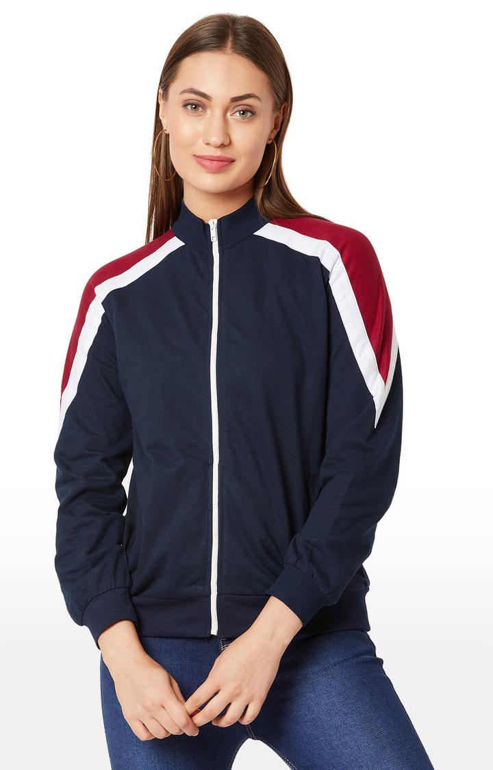 MISS CHASE | Navy Solid Sweatshirt