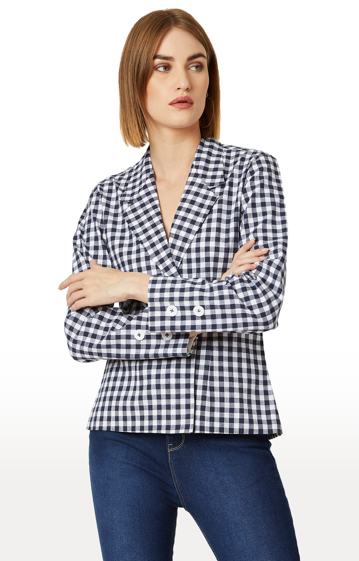 MISS CHASE | Navy and White Checked Jacket
