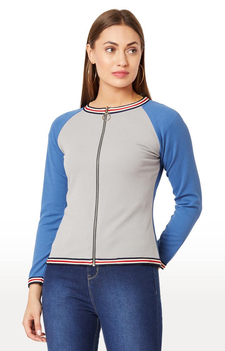 MISS CHASE | Grey Solid Sweatshirt