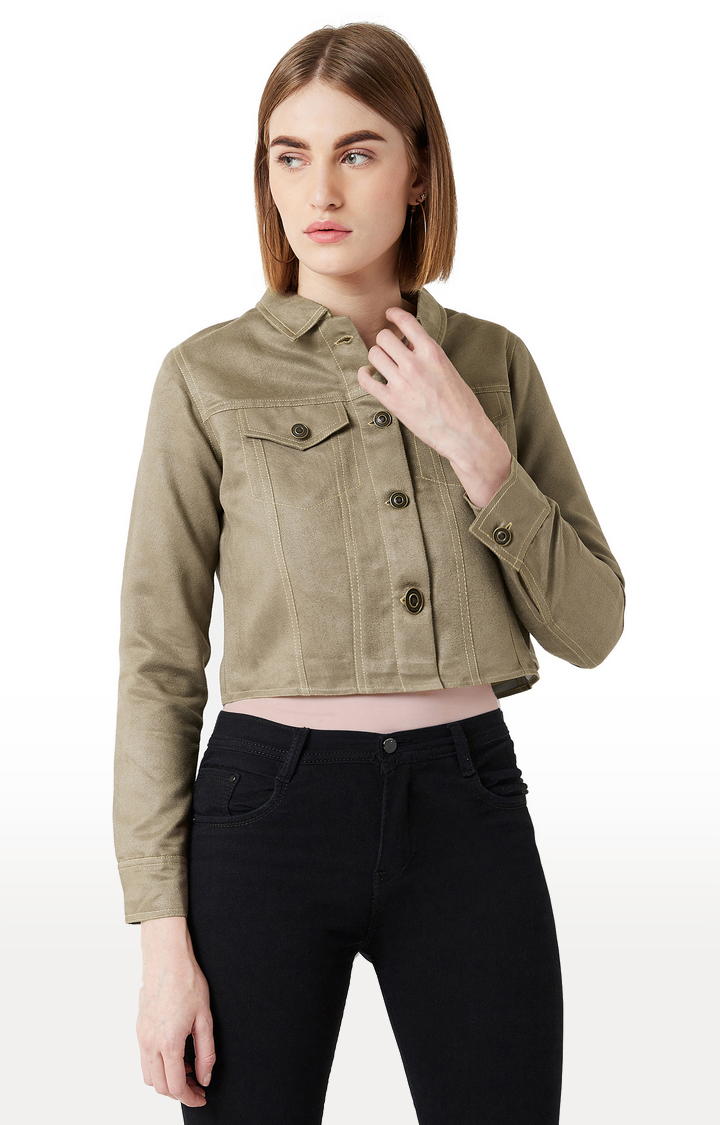 MISS CHASE | Green Solid Jacket