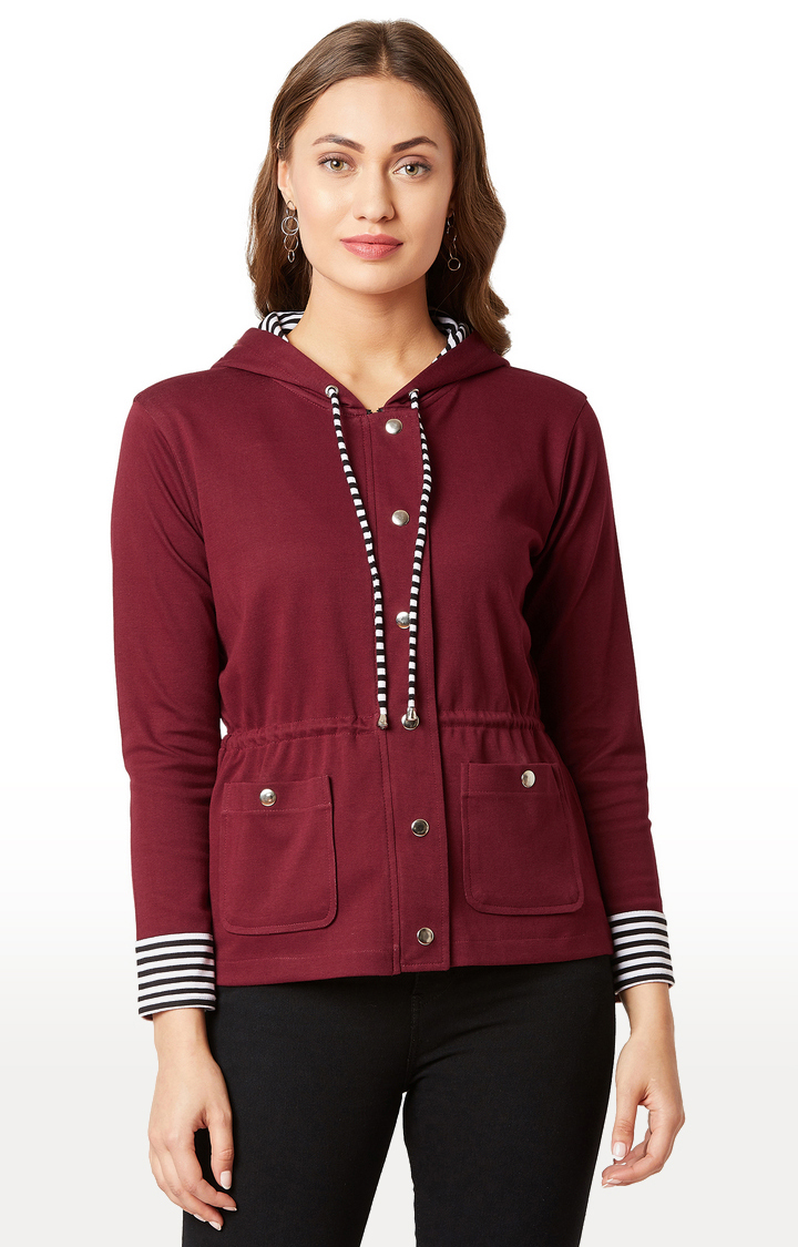 MISS CHASE | Maroon Solid Jacket