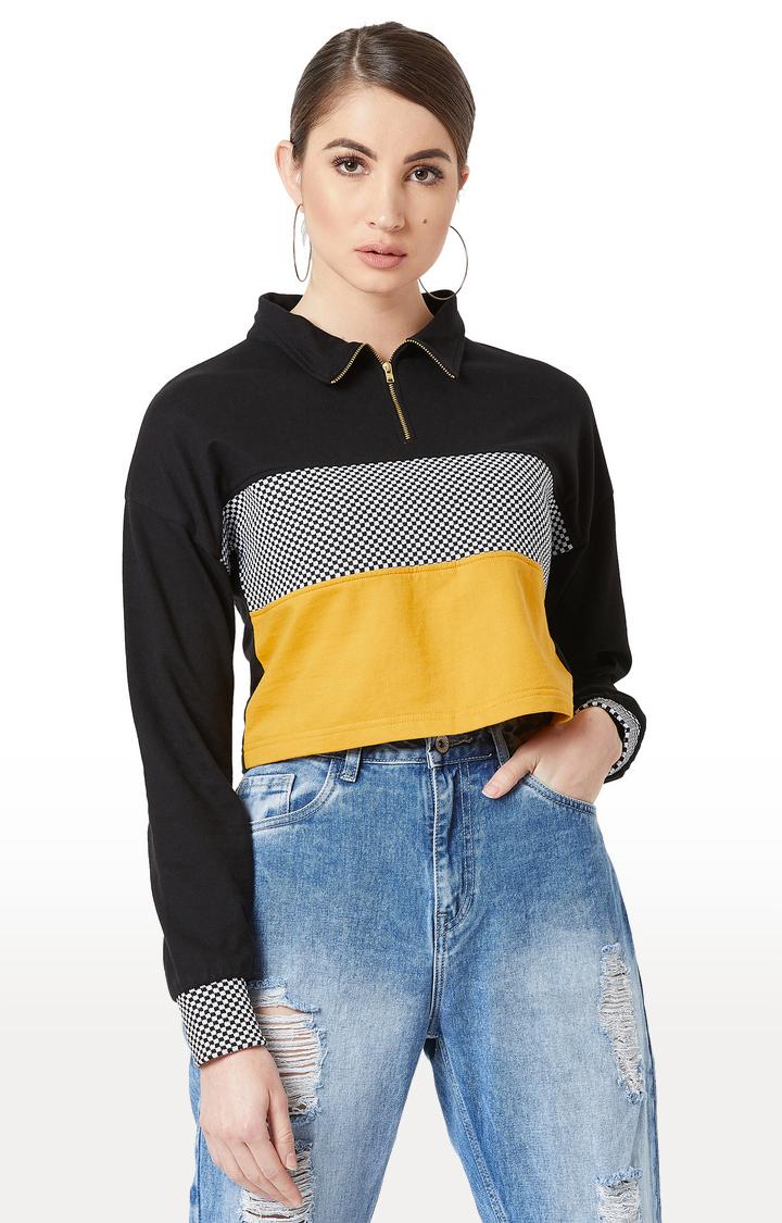 MISS CHASE | Black Colourblock Sweatshirt